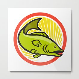 Largemouth Bass Jumping Cartoon Circle Metal Print