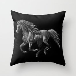 Galloping Ghost Silver Horse Throw Pillow