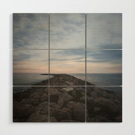 The Jetty at Sunset - Vertical Wood Wall Art