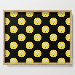 Yellow Smiley Face Black Background Serving Tray