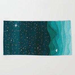 Starry Ocean, teal sailboat watercolor sea waves night Beach Towel