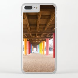 Pier with color painted columns on the beach Clear iPhone Case