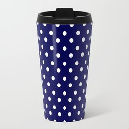 White & Blue Navy Polkadot Pattern Travel Mug
