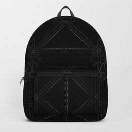 White fractal geometric shapes with compass symbol Backpack