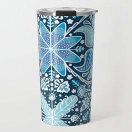 Pysanky Paisley Floral in Blue Travel Mug