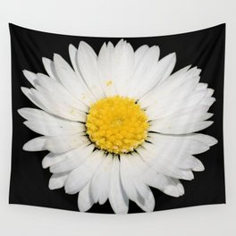 Nine Common Daisies Isolated on A Black Backgound Wall Tapestry
