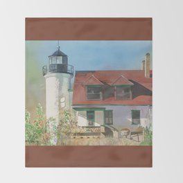 Point Betsie Lighthouse Throw Blanket