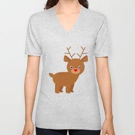 Cute Christmas Reindeer Unisex V-Neck