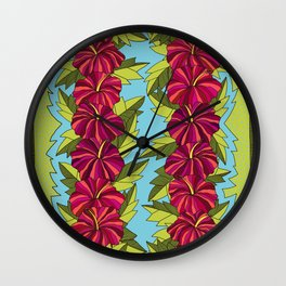 Hibiscus Rows Pattern Wall Clock