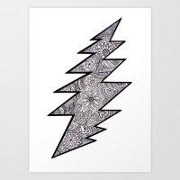 grateful dead Art Prints featuring Grateful Dead lightning bolt by Gracie Holder