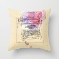 mercedes Throw Pillows featuring typewriter by Sabine Israel