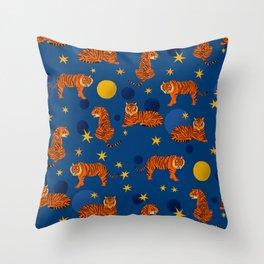Cosmic Tigers Throw Pillow