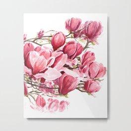 Watercolor Magnolia flowers Metal Print