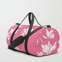 Magnolia - flower pattern hand drawn on pastel background Duffle Bag