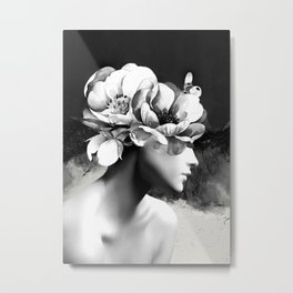 Floral Portrait-black and white Metal Print