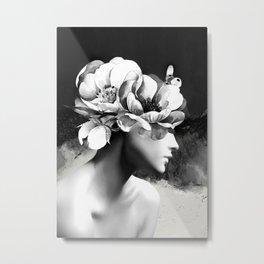 Floral Portrait-black and white Metal Print