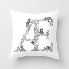 Bearfabet Letter Æ Throw Pillow