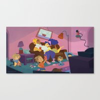 simpsons Canvas Prints featuring The Simpsons by Ann Marcellino