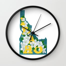 State Florals - Idaho Floral Watercolor - Yellow Wall Clock