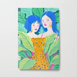 Girls and Panther in Tropical Jungle Metal Print