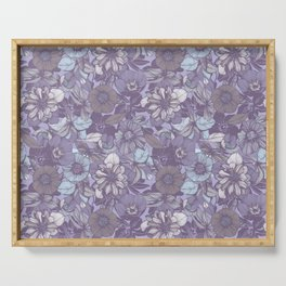 Hellebore lineart florals   soft winter Serving Tray