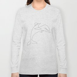 one line dolphin Long Sleeve T-shirt