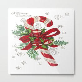 Vintage Merry Christmas Candy Cane Metal Print