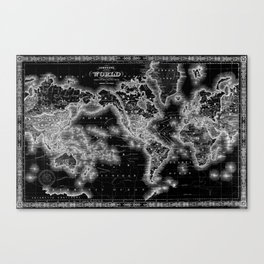 Black and White World Map (1864) Inverse Canvas Print