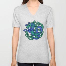 Celtic Hippocampus Sea-horse Unisex V-Neck