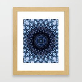 Dark and light blue mandala Framed Art Print