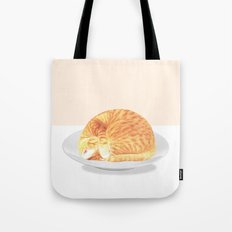 Kitty on plate Tote Bag