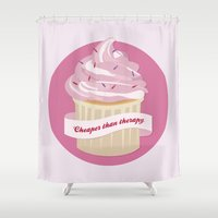 cupcakes Shower Curtains featuring Cupcakes by Katarina Fegraeus