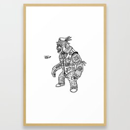 King Kong Black and White Framed Art Print