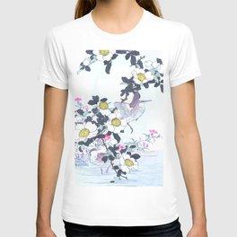 Kono Bairei - Water Rails And Laevigata Flowers - Antique Japanese Woodblock Print Art (1883) T-shirt