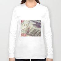 typewriter Long Sleeve T-shirts featuring Typewriter by Beth Retro