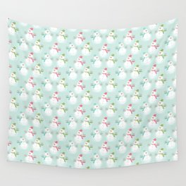 Adorable Christmas Snowmen Pattern Wall Tapestry