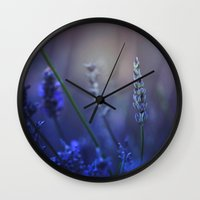 lavender Wall Clocks featuring Lavender by Nikita Gill