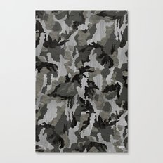 Modern Woodgrain Camouflage / Winter Birch Woodland Print Canvas Print