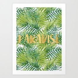 Paradise in Hawaiian Palm Tree Leaves Art Print
