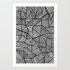 Black Brushstrokes Art Print