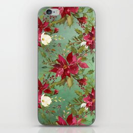 Burgundy red forest green white watercolor Christmas flowers iPhone Skin