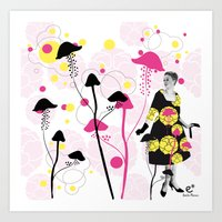 mushroom Art Prints featuring Mushroom by Emilie Ramon