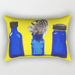 Cobalt Blue Glass Bottle Illustration Rectangular Pillow