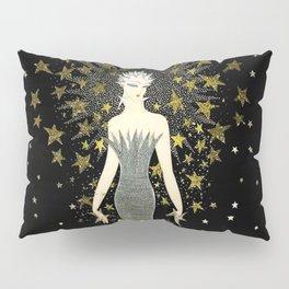 """Art Deco Sepia Illustration """"Star Studded Glamor"""" Pillow Sham"""