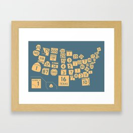 United State Highways of America - Slate Blue Framed Art Print