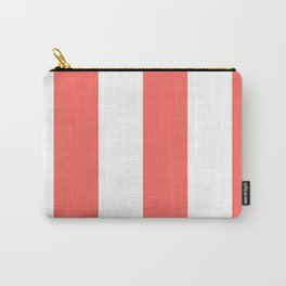 Wide Vertical Stripes - White and Pastel Red Carry-All Pouch