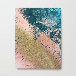River: a minimal, abstract mixed-media piece in pink, teal and gold Metal Print