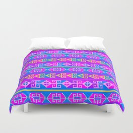 Colorful Mexican Aztec geometric pattern Duvet Cover