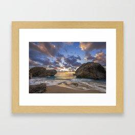 Kalamitsi beach at sunset long exposure Framed Art Print