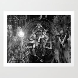 The Necromancer 2: Black & White Art Print